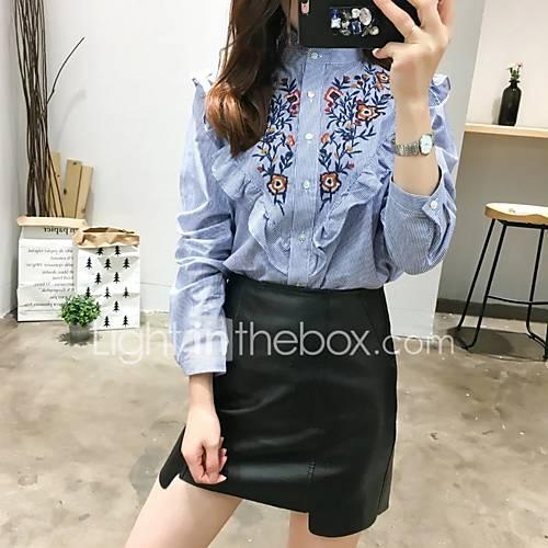 dames-eenvoudig-street-chic-herfst-winter-overhemd-uitgaan-casual-dagelijks-geborduurd-assymmetrisch-lange-mouw-blauw-katoen-medium