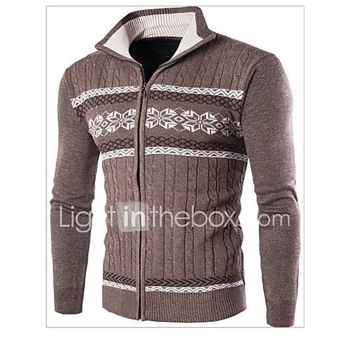 heren-casual-dagelijks-eenvoudig-normaal-pullover-kleurenblok-blauw-beige-bruin-opstaand-lange-mouw-wol-herfst-winter-medium