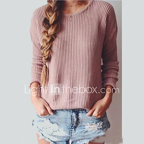 dames-casual-dagelijks-sexy-eenvoudig-normaal-pullover-effen-roze-grijs-ronde-hals-lange-mouw-acryl-herfst-winter-medium-micro-elastisch