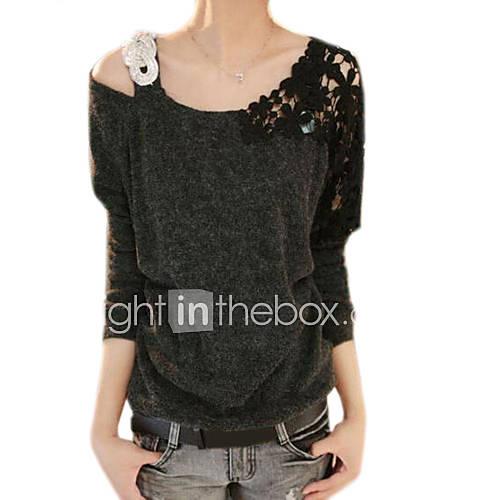 vrouwen-eenvoudig-lente-t-shirt-casual-dagelijks-effen-assymmetrisch-lange-mouw-blauw-roze-zwart-katoen-medium