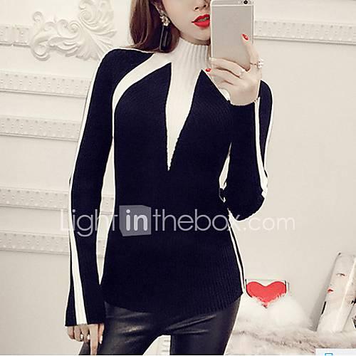 dames-casual-dagelijks-eenvoudig-normaal-pullover-kleurenblok-wit-zwart-strakke-ronde-hals-lange-mouw-polyester-herfst-winter-dik