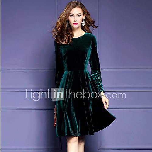 dames-uitgaan-grote-maten-street-chic-schede-jurk-effen-ronde-hals-tot-de-knie-lange-mouw-groen-polyester-herfst-winter-medium-taille