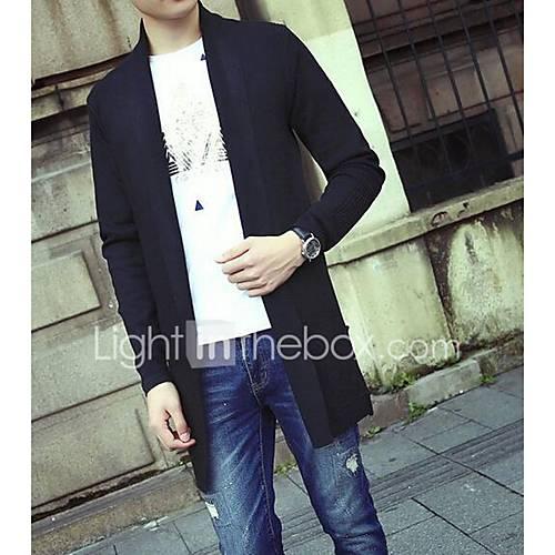 heren-casual-dagelijks-eenvoudig-normaal-vest-effen-zwart-grijs-overhemdkraag-lange-mouw-acryl-herfst-medium-micro-elastisch