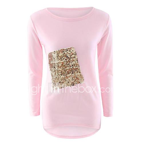dames-eenvoudig-herfst-winter-t-shirt-casual-dagelijks-patchwork-ronde-hals-lange-mouw-roze-wit-zwart-polyester-medium