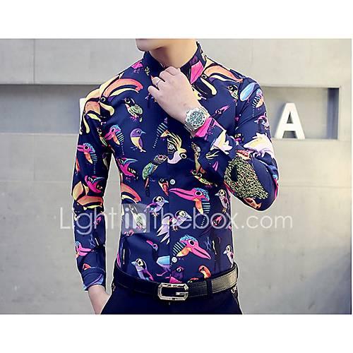 heren-eenvoudig-herfst-overhemd-uitgaan-casual-dagelijks-dierenprint-overhemdkraag-lange-mouw-blauw-wit-katoen-medium