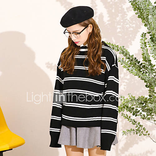 Dames Casual/Dagelijks Eenvoudig Lang Pullover Gestreept-Wit / Zwart Ronde hals Lange mouw Polyester Herfst / Winter Medium