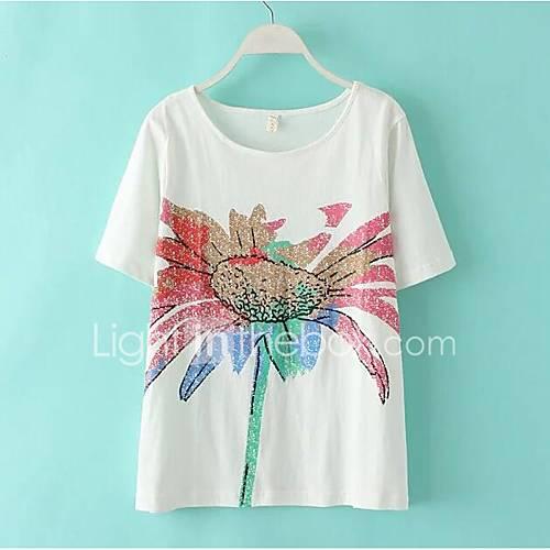 dames-sexy-schattig-chinoiserie-t-shirt-uitgaan-strand-vakantie-effen-ronde-hals-lange-mouw-roze-wit-groen-katoen