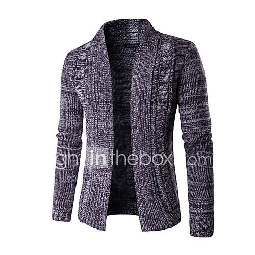 heren-casual-dagelijks-werk-eenvoudig-normaal-vest-print-blauw-paars-opstaand-lange-mouw-polyester-herfst-winter-medium-micro-elastisch