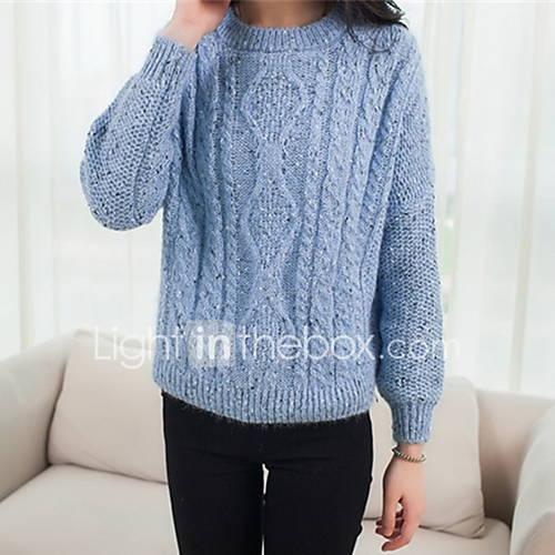 Dames Uitgaan / Casual/Dagelijks Schattig Normaal Pullover Effen-Blauw / Roze / Rood / Beige Ronde hals Lange mouw Polyester Herfst Medium