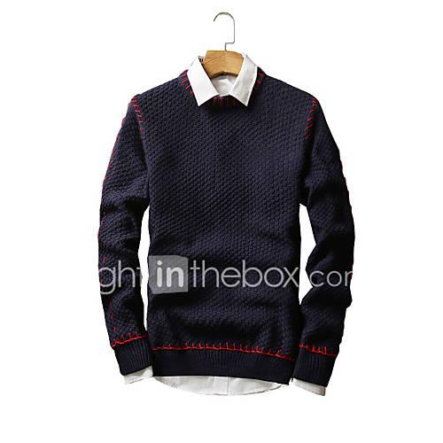heren-club-vintage-eenvoudig-street-chic-normaal-pullover-effen-blauw-wit-zwart-ronde-hals-lange-mouw-katoen-herfst-winter-medium
