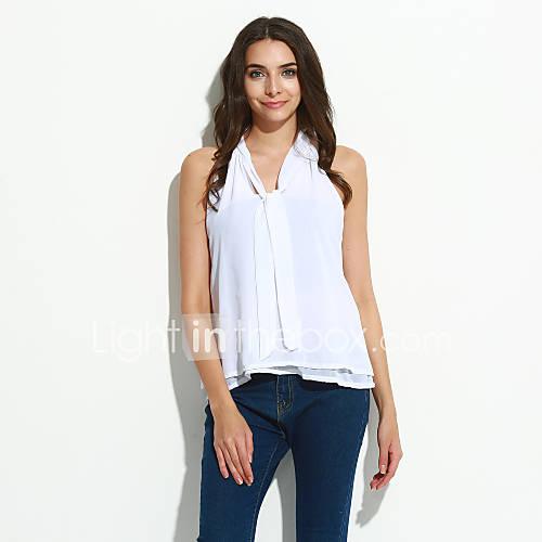vrouwen-street-chic-zomer-blouse-casual-dagelijks-effen-v-hals-mouwloos-rood-wit-zwart-polyester-medium
