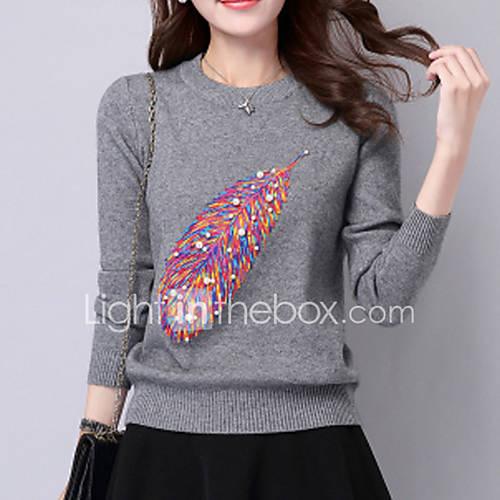 dames-casual-dagelijks-schattig-normaal-pullover-patchwork-rood-wit-zwart-grijs-geel-ronde-hals-lange-mouw-wol-herfst-medium-rekbaar