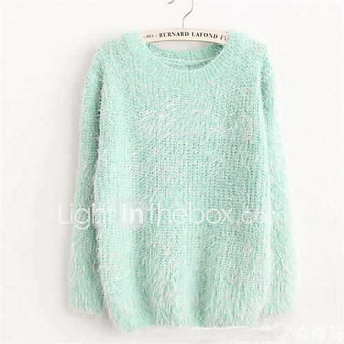 dames-casual-dagelijks-eenvoudig-schattig-normaal-pullover-effen-blauw-roze-beige-grijs-groen-paars-ronde-hals-lange-mouw-polyester-herfst