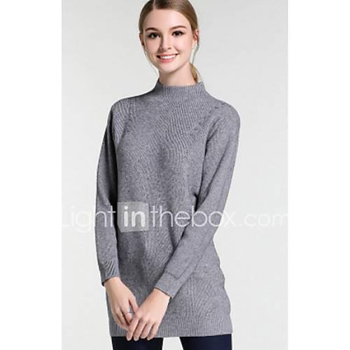 Dames Casual/Dagelijks Eenvoudig Lang Pullover Effen-Grijs Coltrui Lange mouw Polyester Winter Dik Micro-elastisch