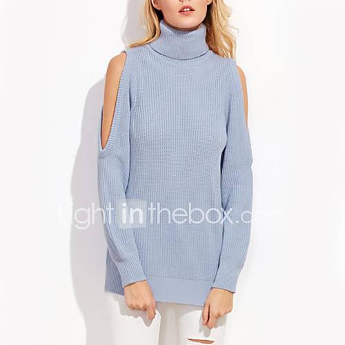 Dames Casual/Dagelijks Eenvoudig Normaal Pullover Effen-Blauw / Roze Coltrui Lange mouw Polyester Herfst / Winter Medium Micro-elastisch