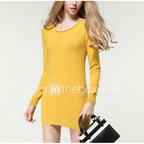 Dames Uitgaan Eenvoudig Normaal Pullover Effen-Geel Ronde hals Lange mouw Katoen Lente Medium Micro-elastisch