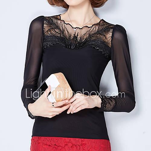 Dames Eenvoudig Herfst T-shirt,Casual/Dagelijks Effen Assymmetrisch Lange mouw Zwart Polyester Medium