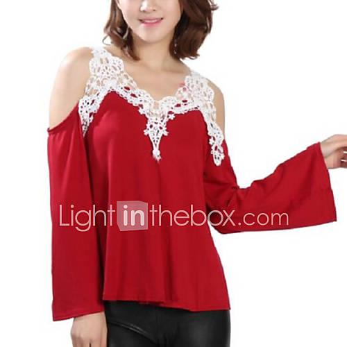vrouwen-eenvoudig-herfst-t-shirt-casual-dagelijks-patchwork-bandje-lange-mouw-blauw-rood-zwart-grijs-polyester-medium