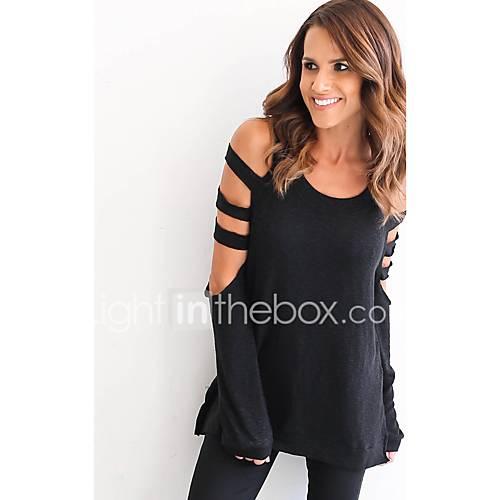 sexy-eenvoudig-lente-herfst-t-shirt-uitgaan-casual-dagelijks-effen-ronde-hals-lange-mouw-wit-zwart-grijs-polyester-medium