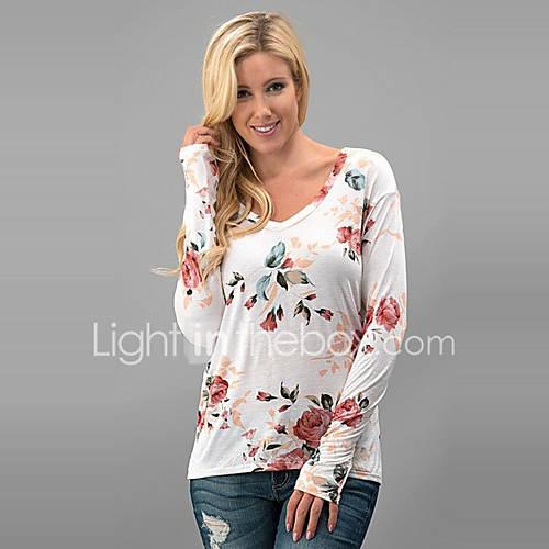 Dames Vintage / Street chic Lente / Herfst T-shirt,Uitgaan / Casual/Dagelijks Bloemen V-hals Lange mouw Wit Polyester Medium