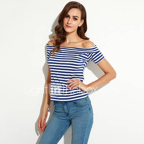 vrouwen-street-chic-zomer-t-shirt-casual-dagelijks-gestreept-boothals-korte-mouw-blauw-katoen-medium