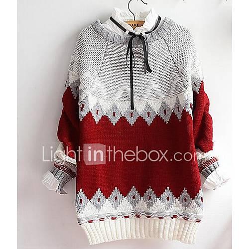 Dames Casual/Dagelijks Eenvoudig Normaal Pullover Effen-Rood Ronde hals Lange mouw Katoen Alle seizoenen Medium Micro-elastisch