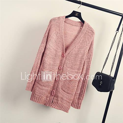 Dames Uitgaan / Casual/Dagelijks Eenvoudig Normaal Vest Effen-Roze / Grijs V-hals Lange mouw Acryl Herfst Medium Micro-elastisch