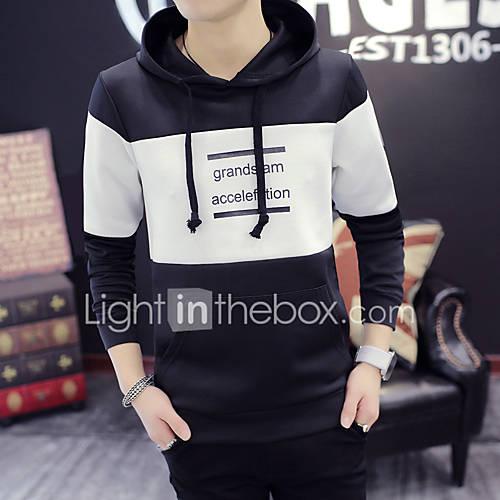 heren-casual-dagelijks-eenvoudig-normaal-hoodies-effen-blauw-zwart-grijs-ronde-hals-lange-mouw-katoen-herfst-medium-micro-elastisch