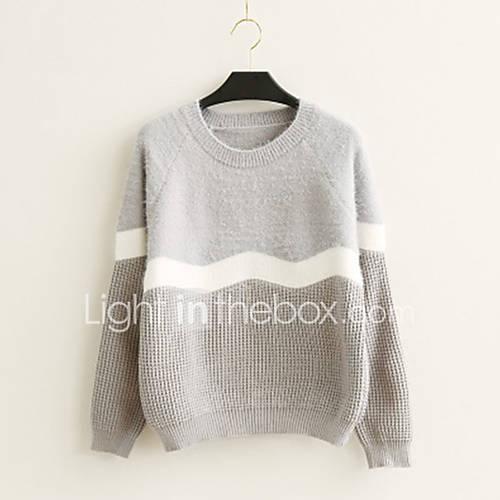 dames-casual-dagelijks-eenvoudig-normaal-pullover-gestreept-rood-wit-zwart-grijs-ronde-hals-lange-mouw-katoen-lente-herfst-medium
