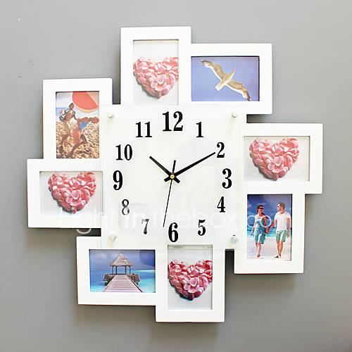 moderne contemporain niches horloge murale carr verre bois 52 52cm int rieur horloge de. Black Bedroom Furniture Sets. Home Design Ideas