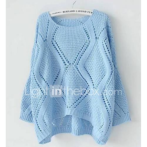Dames Uitgaan / Casual/Dagelijks Eenvoudig Normaal Pullover Effen-Blauw / Roze / Geel Ronde hals Lange mouw Katoen Lente / Herfst Medium