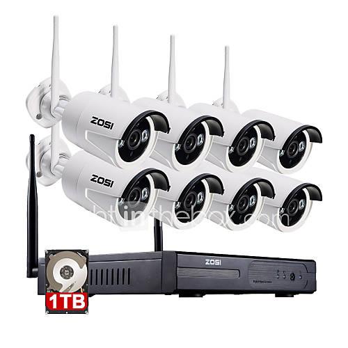960P NVR zosi8ch 8pcs 1,3 MP kit de vigilancia de seguridad en el hogar a prueba de agua la cámara del IP del wifi con 1 TB Descuento en Lightinthebox
