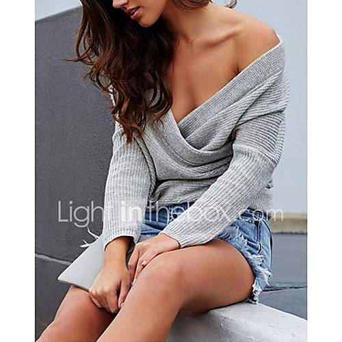 dames-uitgaan-casual-dagelijks-club-sexy-eenvoudig-street-chic-normaal-pullover-effen-patchwork-bruin-grijs-schouderafhangend-lange-mouw