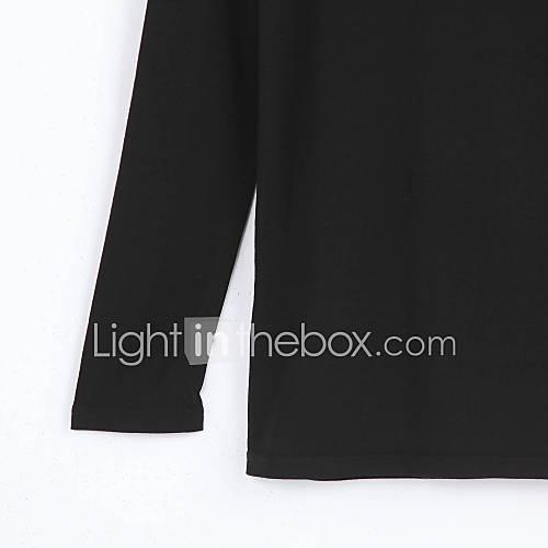 Vrouwen Eenvoudig Lente / Herfst T-shirt,Casual/Dagelijks Effen Ronde hals Lange mouw Rood / Zwart / Paars Polyester Medium