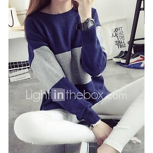Dames Uitgaan Schattig Normaal Pullover Kleurenblok-Blauw / Roze Ronde hals Lange mouw Polyester Winter Medium Micro-elastisch