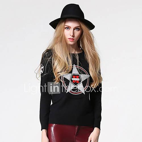 Dames Uitgaan / Casual/Dagelijks Schattig / Street chic Normaal Pullover Print-Zwart Ronde hals Lange mouw Katoen Lente / Herfst Medium