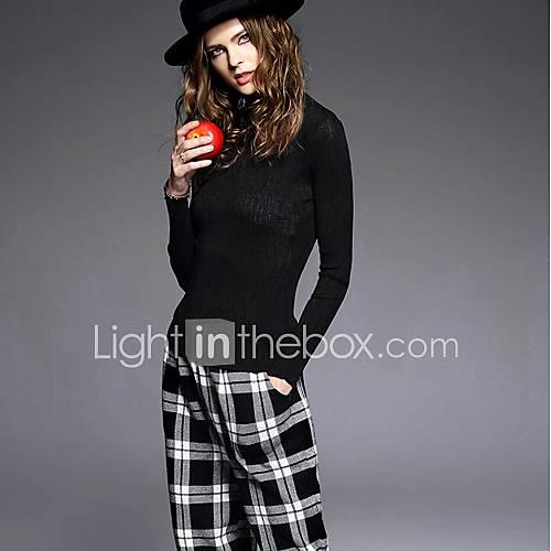 Dames Casual/Dagelijks Vintage Kort Pullover Effen-Zwart Coltrui Lange mouw Rayon Winter Medium Micro-elastisch