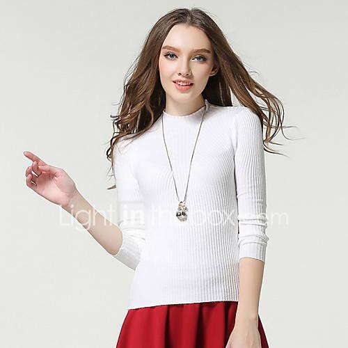 dames-uitgaan-casual-dagelijks-eenvoudig-street-chic-normaal-vest-effen-rood-wit-zwart-grijs-ronde-hals-lange-mouw-acryl-herfst-medium