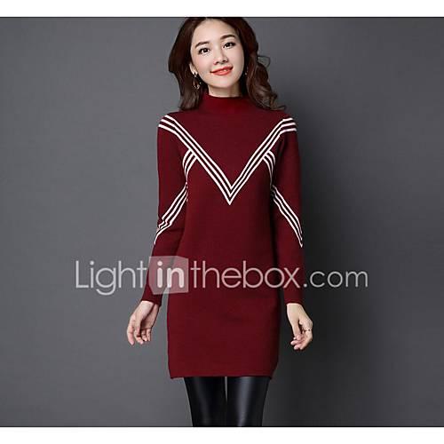 dames-casual-dagelijks-eenvoudig-normaal-pullover-effen-rood-wit-zwart-grijs-strakke-ronde-hals-lange-mouw-polyester-lente-medium