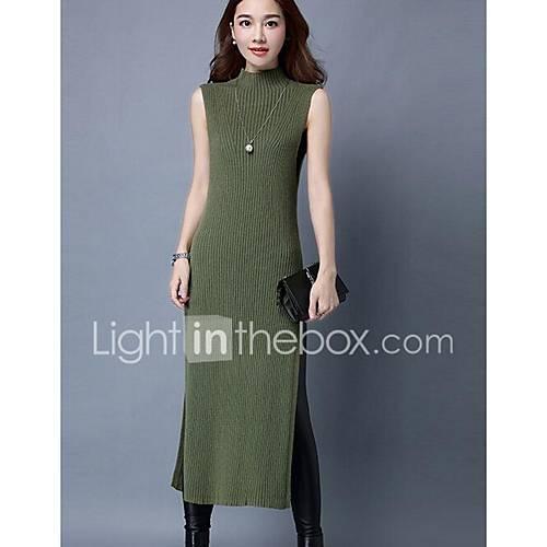 dames-casual-dagelijks-eenvoudig-breigoed-jurk-effen-coltrui-midi-mouwloos-grijs-groen-katoen-herfst-winter-medium-taille-rekbaar
