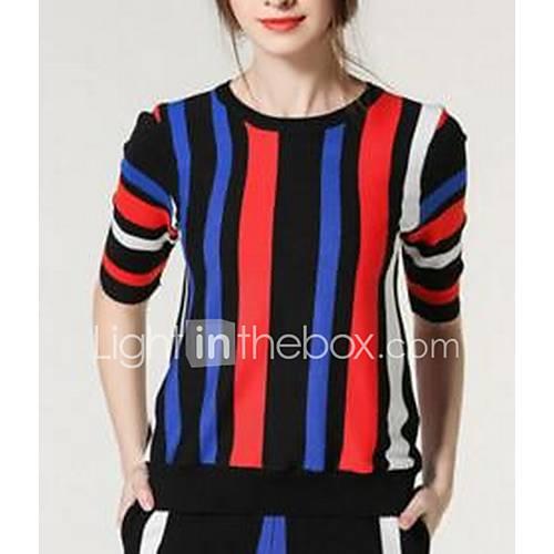 Dames Uitgaan Eenvoudig Kort Pullover Gestreept / Print / Kleurenblok-Zwart Ronde hals Lange mouw Katoen Lente Medium Rekbaar