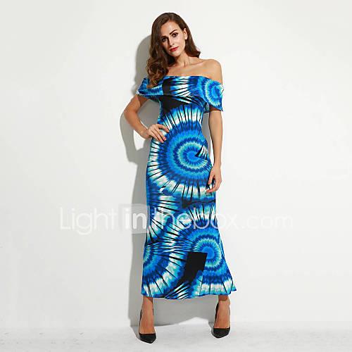vrouwen-casual-dagelijks-boho-schede-jurk-print-boothals-maxi-mouwloos-blauw-polyester-zomer