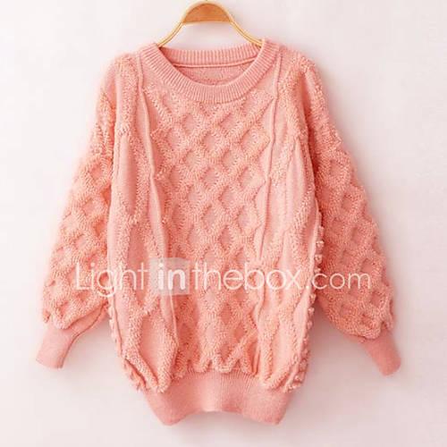 dames-casual-dagelijks-street-chic-lang-pullover-effen-roze-rood-wit-zwart-strakke-ronde-hals-lange-mouw-acryl-herfst-winter-medium