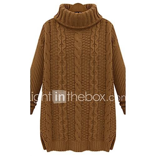 dames-casual-dagelijks-eenvoudig-street-chic-lang-pullover-effen-rood-beige-zwart-bruin-coltrui-lange-mouw-katoen-acryl-spandex-herfst