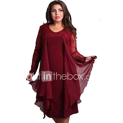 vrouwen-eenvoudig-grote-maten-ruimvallend-effen-jurk-tot-de-knie-ronde-hals-katoen-polyester
