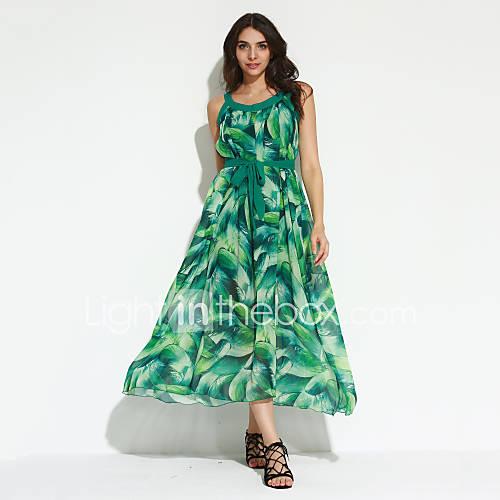vrouwen-boho-wijd-uitlopend-print-jurk-maxi-ronde-hals-polyester