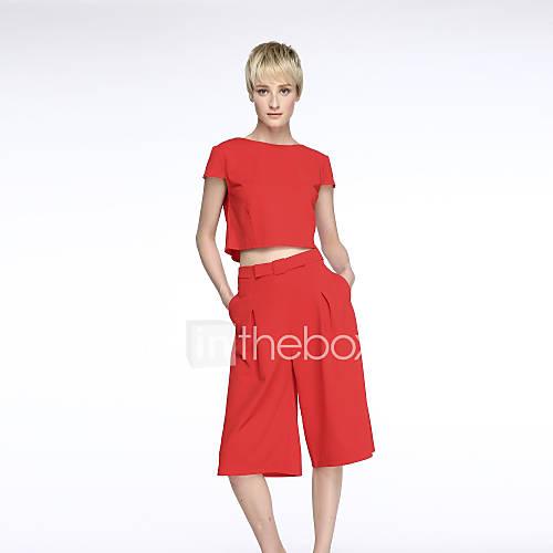 vrouwen-vintage-eenvoudig-chiffon-tweedelig-effen-jurk-midi-ronde-hals-polyester