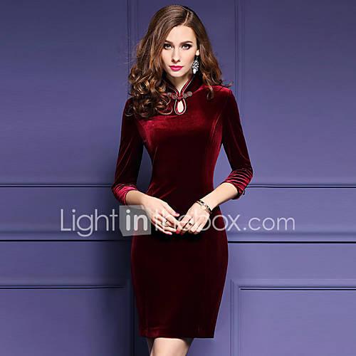 dames-uitgaan-grote-maten-sexy-bodycon-jurk-effen-opstaand-boven-de-knie-driekwart-mouw-rood-polyester-lente-herfst-medium-taille