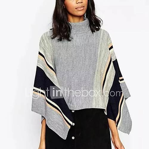 dames-uitgaan-casual-dagelijks-eenvoudig-street-chic-normaal-cloak-capes-kleurenblok-grijs-ronde-hals-lange-mouw-rayon-polyester-herfst