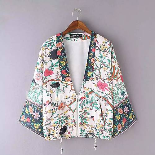 dames-eenvoudig-street-chic-herfst-winter-overhemd-uitgaan-casual-dagelijks-bloemen-diepe-v-hals-lange-mouw-wit-rayon-polyester-medium